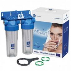 Фильтр для воды Aquafilter FHPRCL12-B-TWIN, Магистральный двухступенчастый корпус, колба 10 дюймов, резьба 1/2 дюйма