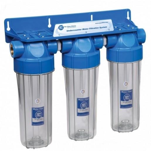 Фильтр для воды Aquafilter FHPRCL12-B-TRIPLE, Магистральный трехступенчастый корпус, колба 10 дюймов, резьба 1/2 дюйма