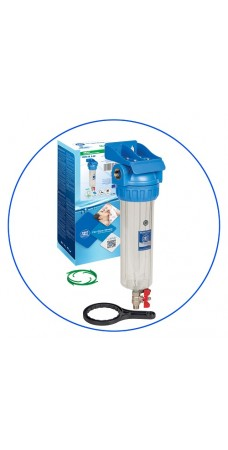 Корпус фильтра для воды Aquafilter FHPR 34 3V, Магистральный, промывка (спускной клапан), 10-ти дюймовый, резьба 3/4 дюймa