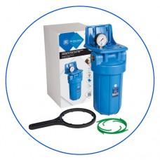 Корпус фильтра для воды Aquafilter FH10B1 B WB, Магистральный, 10-ти дюймовый Big Blue, резьба 1 дюйм, Манометр