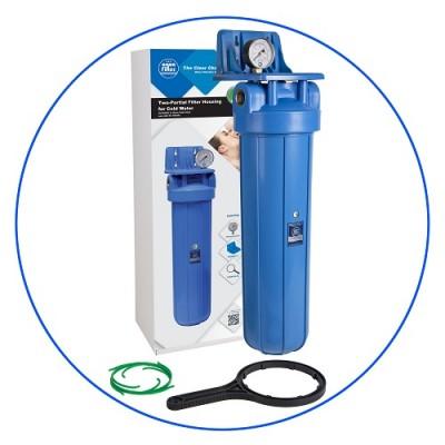Корпус фильтра для воды Aquafilter FH20B1 B WB, Магистральный, 20-ти дюймовый Big Blue, резьба 1 дюйм, Манометр