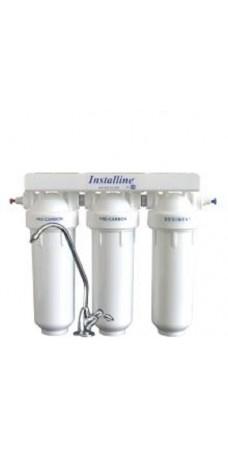 Фильтр для воды Installine IF 30 F, Под мойку, #10, трёхкорпусной, с картриджами, белый, до 37° С, до 4 атм., с отдельным краном и ключом