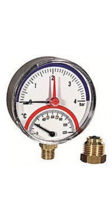 """Термоманометр Eco 484, 6 бар, 120 °С, подключение 1/2"""" дюйма, клапан, нижнее подключение, резьба наружная"""