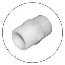 Фитинг соединительный ниппель Aquafilter FXCG 34, коннектор ПВХ с резьбой на 3/4″ наружная, 3/4″ внутренняя