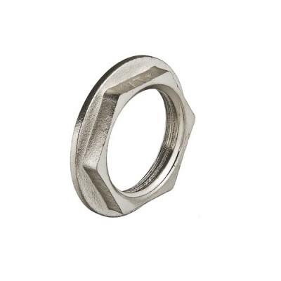 Контргайка резьбовая Valtec 1/2 B, фитинг 1/2 дюйма, резьба внутренняя, никель хром