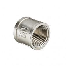 Муфта соединительная прямая Valtec 1/2 BB, Фитинг резьбовой прямой 1/2 дюйма, резьба внутренняя, никель хром
