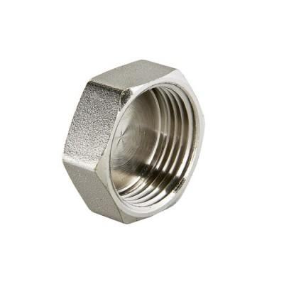 Заглушка резьбовая Valtec 3/4 B, Фитинг 3/4 дюйма, резьба внутренняя, никель хром