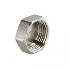 Заглушка резьбовая Valtec 1/2 B, Фитинг 1/2 дюйма, резьба внутренняя, никель хром