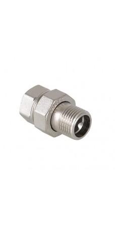 Фитинг резьбовой прямой Valtec Американка 3/4 HB сгон разъемный, диаметр 3/4 дюйма, резьба наружная и внутренняя, никель хром