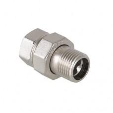 Фитинг резьбовой прямой Valtec Американка 1/2 HB сгон разъемный, диаметр 1/2 дюйма, резьба наружная и внутренняя, никель хром