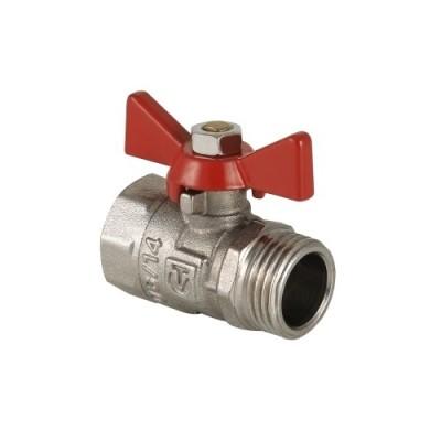 Кран шаровой Valtec КШ мини 1/2 НВ РБк, вентиль шаровый мини 1/2 дюйма, резьба наружная и внутренняя, ручка бабочка красная