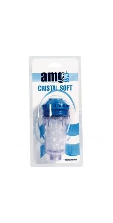 Фильтр для умягчения воды в стиральной, посудомоечной машины AMG Cristal Soft, предфильтр магистральный корпус для бытовой техники с полифосфатами соли (метагексофосфатами), резьба 3/4 дюйма