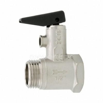 Предохранительный клапан для бойлеров Itap 367 с ручкой спуска, подключение 1/2″ дюйма, резьба наружная-внутренняя